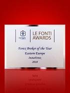 Μεσίτης Forex της Χρονιάς στην Ανατολική Ευρώπη 2018 σύμφωνα με τα Βραβεία Le Fonti